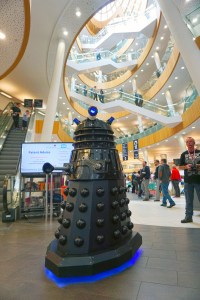 A photo of the full sized remote control Dalek at the library entrance
