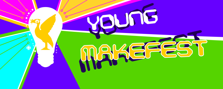 Makefest banner with lightbulb and liver bird logo