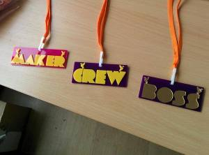 Laser cut maker badges presented to all makers and organisers